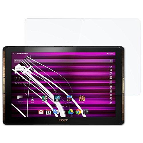 Acer Iconia Tab 10 (A3-A40) Glasfolie - atFoliX FX-Hybrid-Glass hartbeschichtete elastische 9H Kunststoffglas Folie - besser als Echtglas Panzerglas