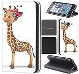 Samsung Galaxy J7 2017 J730 Hülle von CoverHeld Premium Flipcover Schutzhülle Flip Case Motiv (1004 Giraffe Braun mit Schleife Pink)