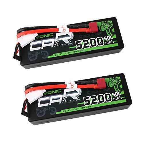 OVONIC 2s Lipo Batteria 7.4V 50C 5200mAh RC Lipo Batterie HardCase Dean-Style T Plug per RC Auto Losi Traxxas Slash Buggy Team Associated (2 Pack)