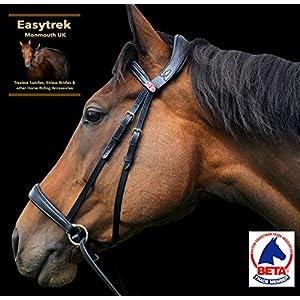 Easytrek Gebisslose Trensenzaum Anatomisch weiches Premium Leder mit Griffzügel schwarz oder braun