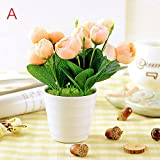 GSYLOL 1 Stück Camellia Pflanze Topf Künstliche Blumen Runde BonsaiBlumentopf Hochzeit Dekorative Floristik, A