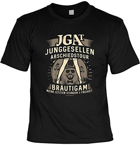Spaß/Fun-Shirt inkl. Spaß-Urkunde: JGA T Junggesellen Abschiedstour Bräutigam Meine letzten Stunden Freiheit tolle Geschenkidee Schwarz