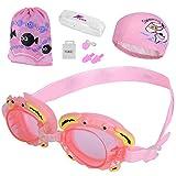 Xndryan Schwimmset für Jungen mit verstellbarer Schwimmbrille für Kleinkinder, Delfin-Badekappe, Nasenclip und Ohrenstöpsel, rose