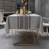 Pahajim Moderna Nappa Cotone Lino Tovaglie Anti-Macchia Tovaglia, Decorazione della Tavola da Pranzo Cucina Lavabile Antimacchia(Strisce Grigie,140x220cm)