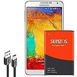 SUNZOS 3300mAh Akku für Samsung Galaxy Note 3 SM-N9000 SM-N9005 Ersatz Original EB-B800BE Batterie Accu