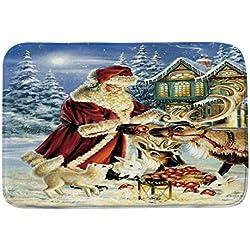 Mitlfuny Badematten Badteppiche Badvorleger Weihnachten Feiertag Thema Winter Jahreszeit Weiß Schnee Schneemann Print Flanell Gummi Backing Rutschfeste Badezimmer Matte Teppiche