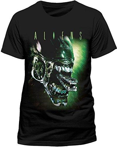 CID Herren T-Shirt Alien Head, Schwarz (Black), Small (Herstellergröße: S)