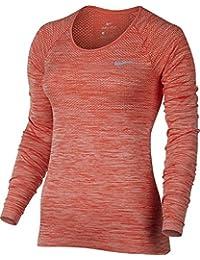 Nike W Nk Df Knit Ls Camiseta de Manga Larga, Mujer, Naranja (Max Orange / Htr), XS