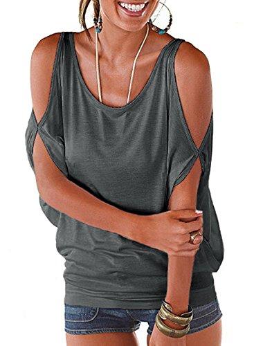 Imixcity Femme Chic Été Manches Ouvertes Lâche Chemisiers Batwing Haut Blouse T-shirt avec Dos Shirt À Lacets (EU 40/42 (Balise XL), Gris)