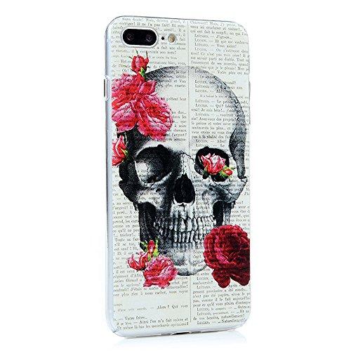 YOKIRIN iPhone 7 Hülle iphone 7 PC Hard Case Cover Bunt Painted Gemalt Transparent Rand Schutzhülle Handy Case Hartschale Skin Muster:Elefant Schädel