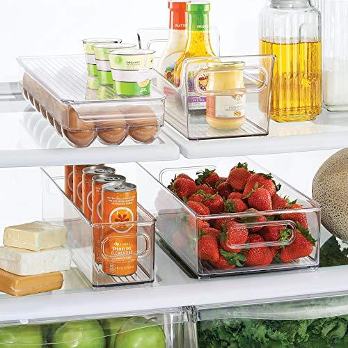 mDesign Set da 4 Contenitori per alimenti – 2 contenitori frigo, 1 portaspezie, 1 portauovo con coperchio – Scatole salvafreschezza ideali per prodotti alimentari – trasparente