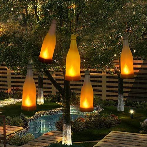 5 Stück Solarleuchten Garten Fackernden Flammeneffekt Flasche Leuchtet im Außendekoration Solarlampen für Außen Hängend
