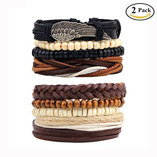 BoomYou Pulsera de Cuero Trenzado Encanto de Cuentas de Madera Wrap Link Wrist Conjunto de Pulsera de Cadena elástica para Hombres Mujeres - Brazalete Ajustable 7 .1-7.9 Pulgadas - Estilo 3