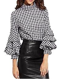 Femme Casual Chemisier à Manches Longues Lanternes à Carreaux Noir et Blanc Tops Shirt Blouse Plaid