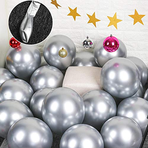 HDaiy Ballon Dekoration Latex Perle Gold Und Silber Chrom Metall 12 Zoll Geburtstag Weihnachten @ Chrome Silber - Chrome Perlen