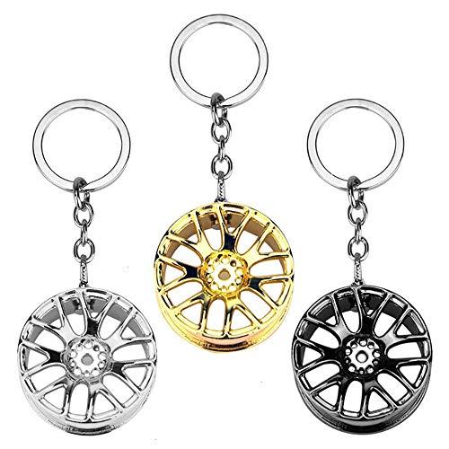 Feeko - Set di 3 Portachiavi per Pneumatici Auto da Corsa, in Metallo, Accessori per Auto, 3 Colori Assortiti