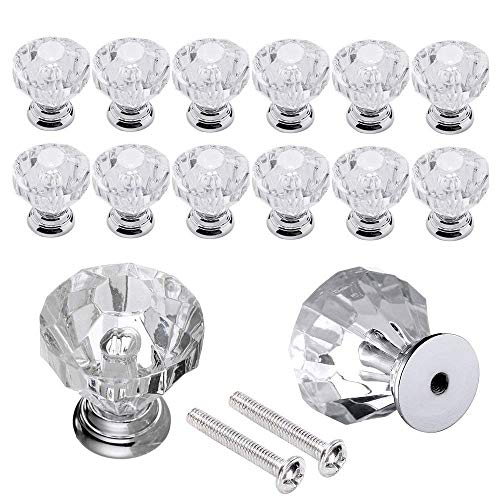 eujiancai 12pcs 20mm Crystal Glass Door Knobs Furniture Cabinet Knobs Drawer Pull Handle with Screw and Transparent (12pcs) - Transparent Glass Knob