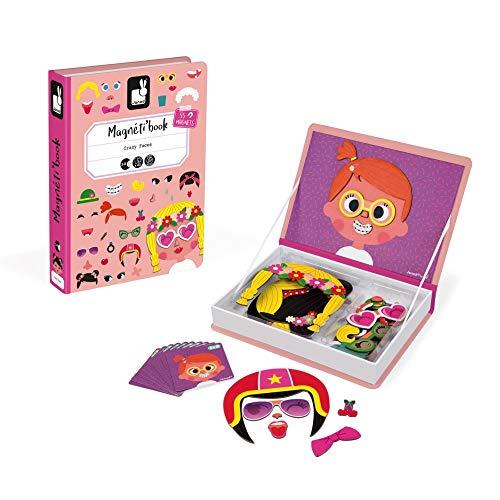 Janod - Magneti'Book Crazy Faces juguete educativo, Niñas (J02717)
