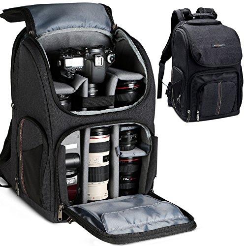 K&F Concept® Kamerarucksack wasserdicht Fotorucksack mit Laptopfach und Regen Abdeckung für DSLR Kamera,Objektiv und Zubehör (12-laptops Panasonic)