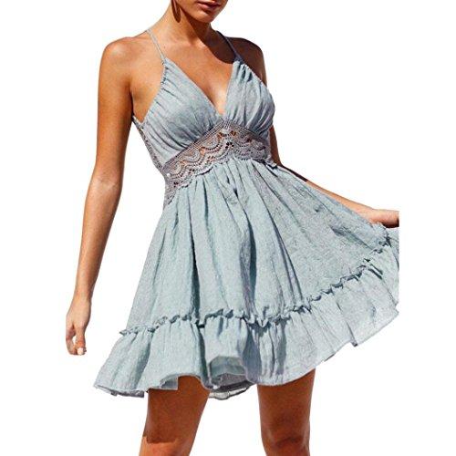 Kleid Damen,Binggong Frauen Sommer Sleeveless Spitze Abend Partei Kurzschluss Kleider Reizvoller Halterkleid Populäre Tiefes V-Kragen Rückenfreies Kleid (S, Blau) -