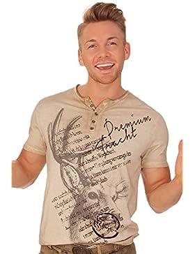 Trachten Herren Shirt - ATLANTA - beige, grau