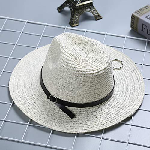 WGYXM Hut, Männer und Frauen Sommerreisen Panama Hut Leder Schnalle Hoop Jazz Sonnenschutz Sonnenhut, weiß, M - Leder-hut-frauen