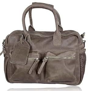 Cowboysbag Unisex Ledertasche - The Bag small (37x28x14 cm), Farben:Grau (Elephant Grey)