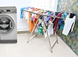 #6: Kurtzy Foldable Stainless Steel garments Clothes Laundry Dryer Hanger Rack Rail Organizer Stand for kids Indoor and Outdoor