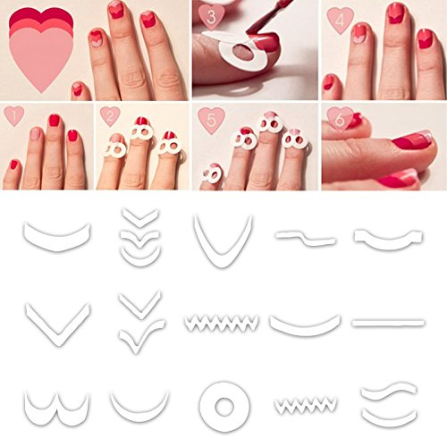15 Styles/Set Paquet Tips Guide French Sticker Autocollant Ongle Deco Manucure Nail Art