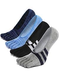 CaiDieNu® Calcetines con cinco 5 dedos hombre, calcetines antideslizantes Invisible, calcetines de deporte,separados cómodo…