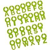 26pcs Marcadores Y Adornos para Vasos Taza de Vino Anillo Cristal Digital Etiqueta de Identificación Carta Silicone Decoración - Verde