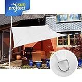sunprotect 83232 Professional Sonnensegel, 3 x 3 m, quadratisch, wind- & wasserdurchlässig, weiß
