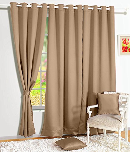 Story@Home Blackout Premium Plain Faux Silk Solid 1 Piece Door Curtain, 7ft, Cream