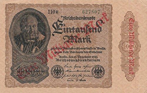 Preisvergleich Produktbild Deutsches Reich Rosenbg: 110g Wasserzeichen Kreuzblüten, FZ schwarz leicht gebraucht (II) 1923 1 Milliarde auf 1000 Mark (Banknoten für Sammler)