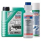 LIQUI MOLY Benzin-Stabilisator + Pflege-Spray für Gartengeräte + Rasenmäher Öl