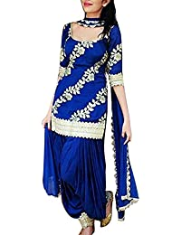 Spangel Fashion Women's Women's Cotton Silk Salwar Suit (patiyala_3_Blue_Free Size)
