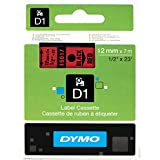 D1 Standard Tape Cartridge for Dymo Label Makers, 1/2in x 23ft, Black on Red