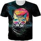 Loveternal Glasses Cat Unisex 3D T-Shirt Patrón Impreso Verano Ocasional Manga Corta Tops Tees M