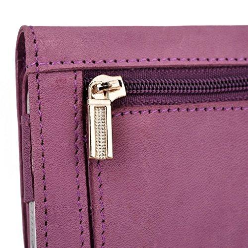 Kroo Pochette Housse Téléphone Portable en cuir véritable pour Samsung Galaxy Note II Note Sprint/Note 3Neo Violet - violet Violet - violet