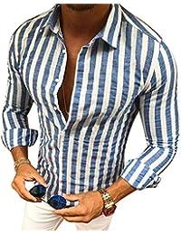 7549609309f87a Manica Lunga Camicia a Righe per Uomo Autunno Primavera Camicie Casual con  Turn-Down Colletto