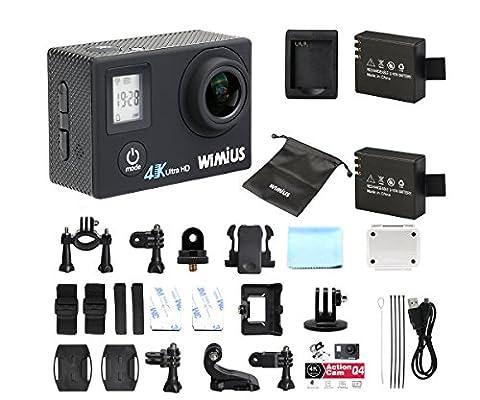 wimius Q4Upgrade 4K Action Kamera mit 5,1cm LCD-Bildschirm und 0,66Status Display, 16MP, 170° Weitwinkel, 20All in One Kit Set, SD Karte