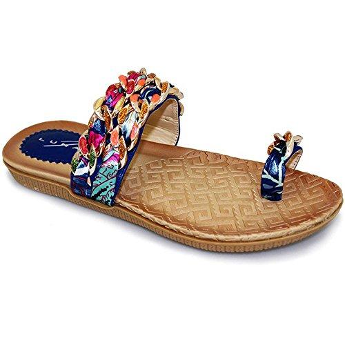 FANTASIA BOUTIQUE pour femmes Multicolores Ruban Lanière Chaîne Anneau D'orteil Confortable Sandales Bleu