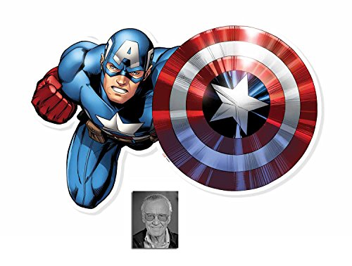 Fan Pack - Captain America Shield Bash 3D Effect Avengers Wall Art Official Marvel Cardboard Cutout - Includes 8x10 Star Photo