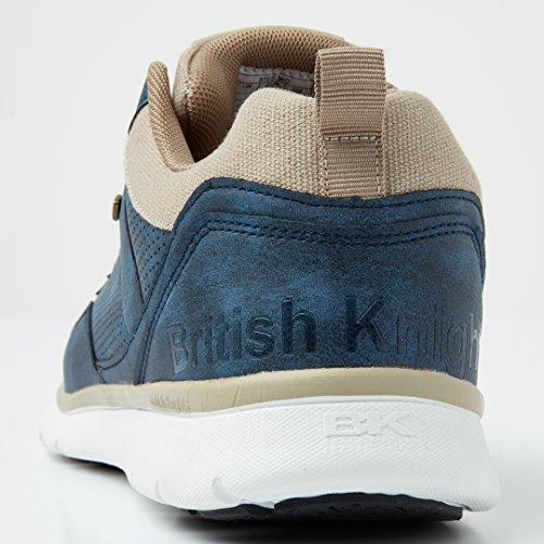 British Knights Steel Mid Uomini Alte Sneakers BLU NAVY/BEIGE
