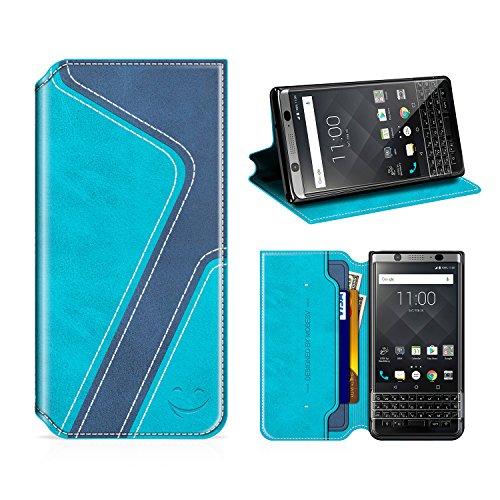 MOBESV Smiley Funda Cartera Blackberry Keyone, Funda Cuero Movil Blackberry...