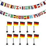 Sonia Originelli Fan-Paket-12 WM Fußball Fan Teilnehmer Girlande Mini Handflaggen Halter Farbe Deutschland