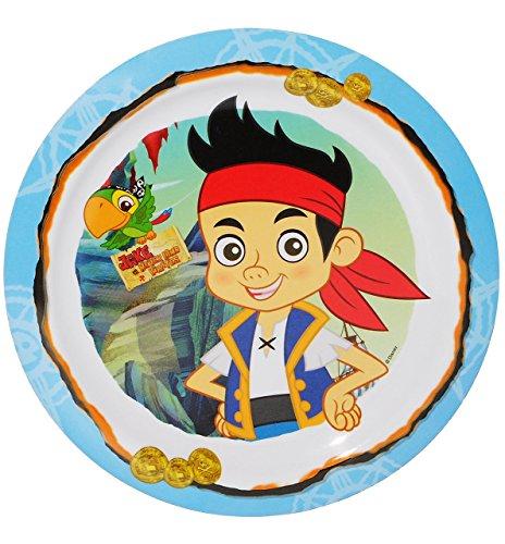 """großer Teller - Kinderteller - """" Käpt`n Jake & die Nimmerland Piraten """" - ø 22,5 cm - aus Melamin - Geschirr für Kinder - Speiseteller / Frühstücksteller / Eßteller - Kindergeschirr - für Jungen - Plastik - Plastikteller / Pirat"""