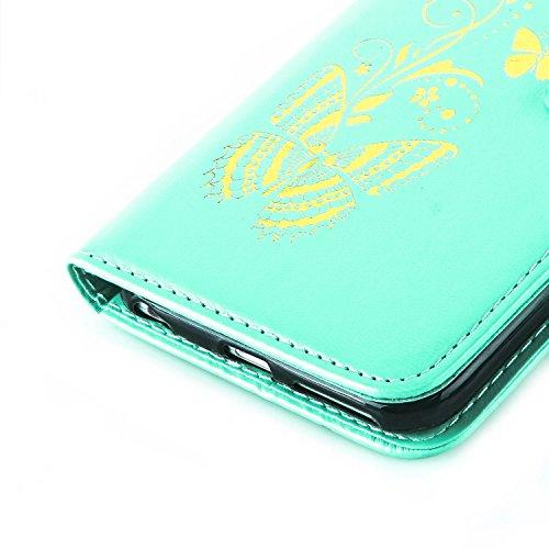 iPhone 6 Plus 6S Plus 5.5 Zoll Hülle - Sunroyal Golden Schmetterlinge Lieben Blumen Bookstyle PU Kunst Leder Schutzhülle Ledertasche Case Blau für iPhone 6 Plus 6S Plus 5.5 Zoll + HD Panzerglas Durchl Grün