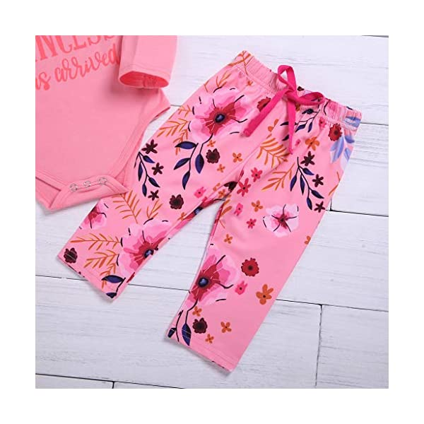 Greenwind Mameluco del bebé 3Pcs Infantil Baby Girls Letter Flower Print Romper Pants Hairband Outfits Set 5