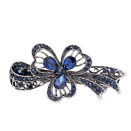 Blue Crystal Blume Strass Haarspange Barrette Hairpin Kopfbedeckung Accessoires Schmuck für Frau Mädchen Hochzeit Haarschmuck (Kleeblatt)